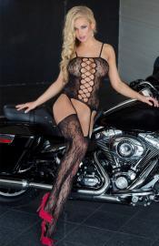 Softline Collection - 6268 Floweret black bodystocking